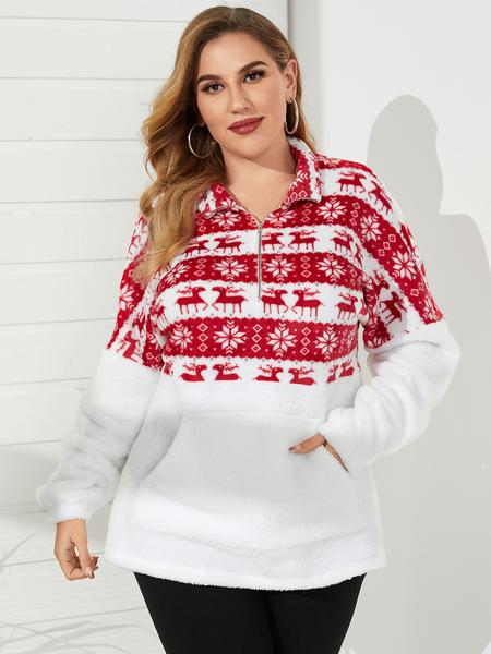 YOINS Plus Size Landscape Print Pocket Design Long Sleeves Sweatshirt
