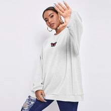 Plus Butterfly Embroidered Oversized Longline Pullover