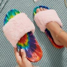 Sandalen mit Batik und Kunstpelz