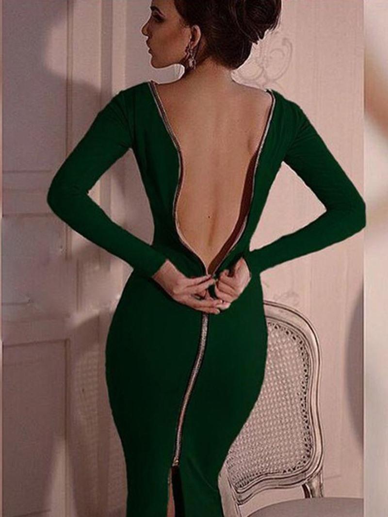 Ericdress Round Neck Zipper Long Sleeve Pullover Fall Dress