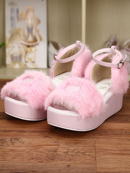 Milanoo Sweet Pink Lolita Sandals Platform Fluffy Heart Shape Ankle Strap