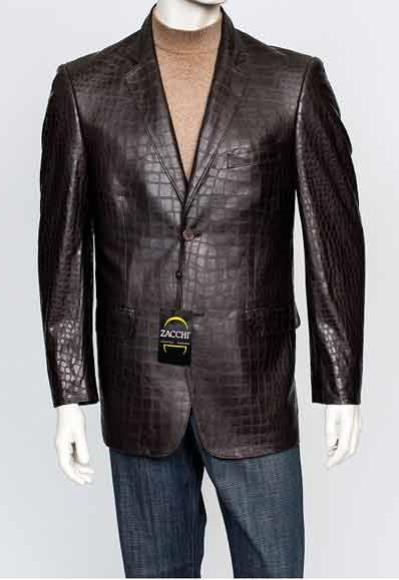 Men's Cut Notch Lapel Leather 2 Button Brown Crocodile Print Blazer