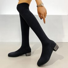 Rhinestone Chunky Heeled Over The Knee Sock Boots