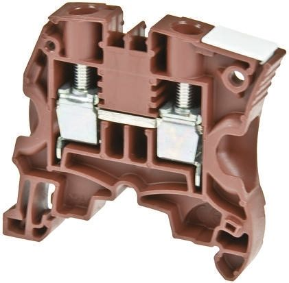 Entrelec ATEX, ZS6, 1 kV ac Feed Through Terminal Block, Screw Clamp Termination, Brown (10)