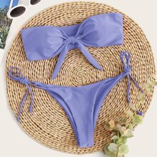 Bandeau Bikini Badeanzug mit Knoten vorn