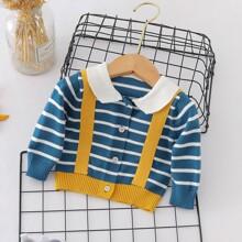 Baby Boy Stripe Button Front Cardigan
