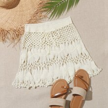 Tie Waist Crochet Cover Up Skirt