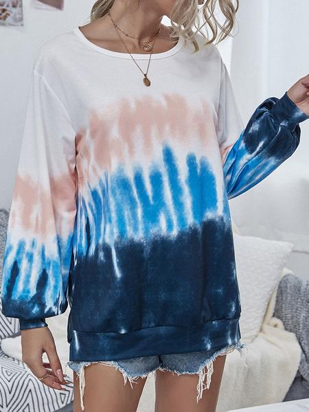 Milanoo Sudadera con capucha para mujer Azul Manga larga Estampado Poliester Mezcla de algodon Tie Dye Sudadera con capucha