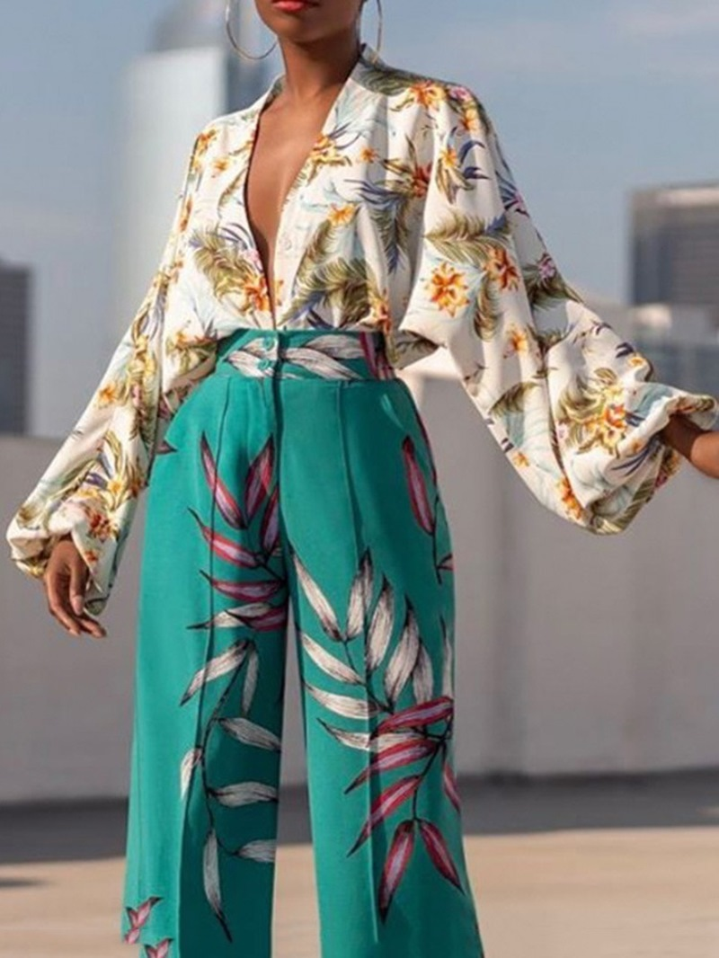 Ericdress Print Puff Sleeve V-Neck Standard Long Sleeve Blouse
