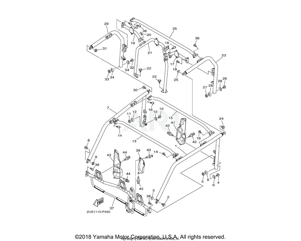 Yamaha OEM 2PG-K831A-01-00 SUPPORT, ROOF 3