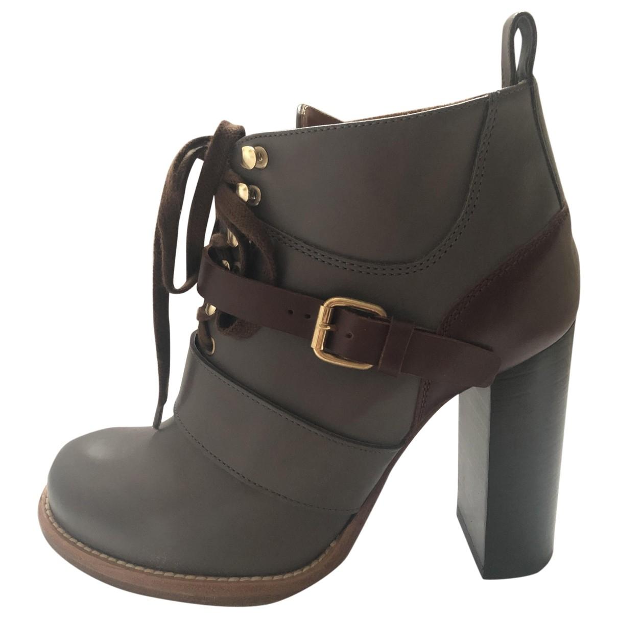 Chloe - Boots   pour femme en cuir - anthracite