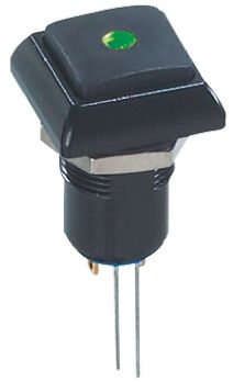 APEM Latching Green LED Push Button Switch, IP67, 13.6 (Dia.)mm, Panel Mount, 48V ac