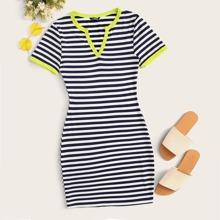 Striped Bodycon Ringer Mini Dress