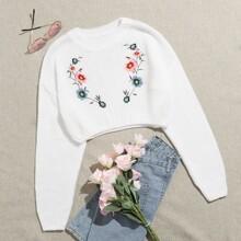 Drop Shoulder Floral Embroidery Crop Sweater