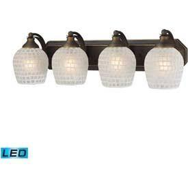 570-4B-WHT-LED 4 Light Vanity in Aged Bronze and White Mosaic Glass -