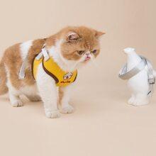 1pc Cat Cartoon Embroidery Harness & 1pc Leash