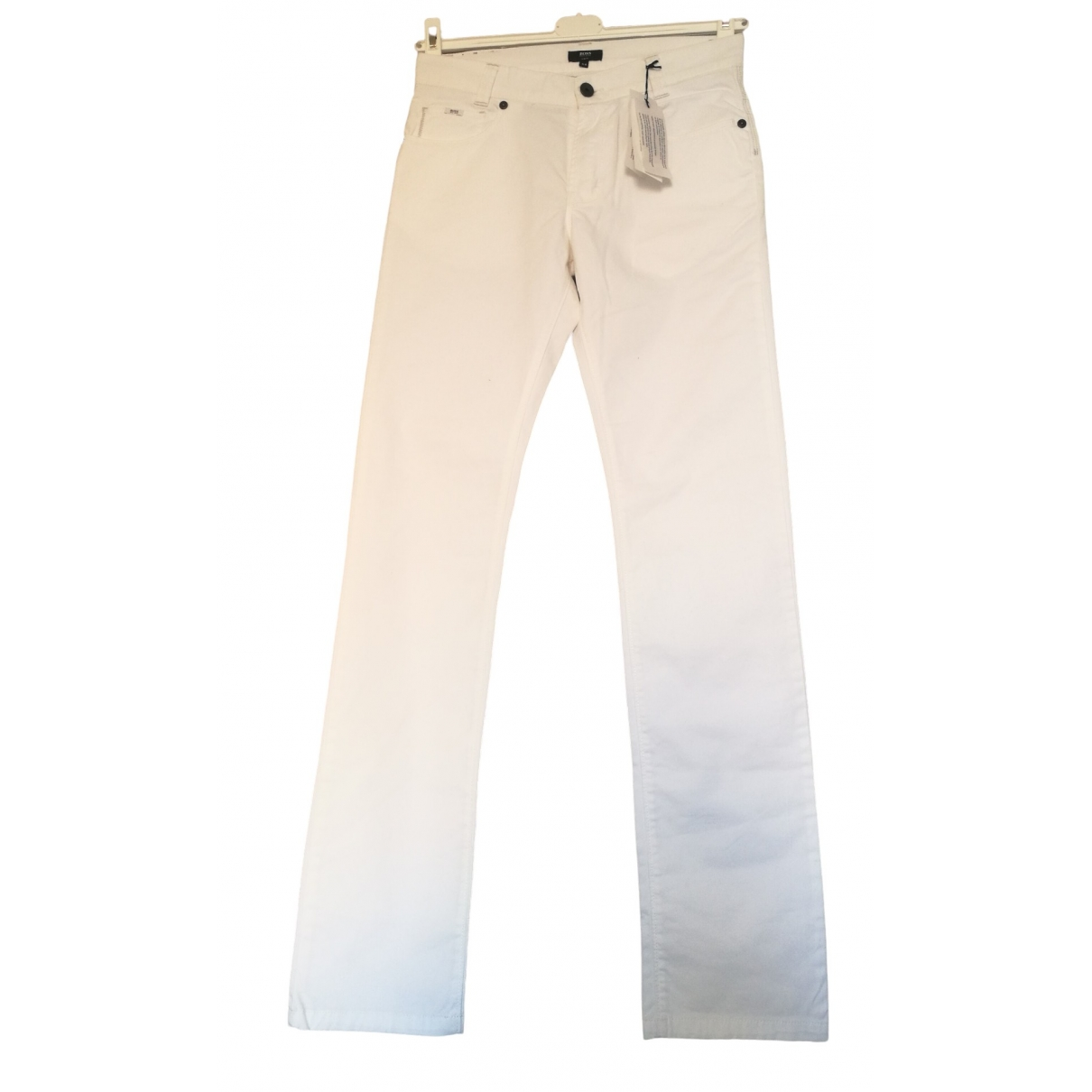 Boss \N White Cotton Trousers for Women 16 UK