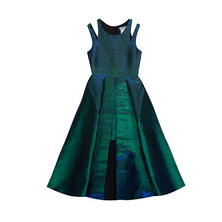 Rare Editions Big Girls Sleeveless Fit & Flare Dress, 8 , Green