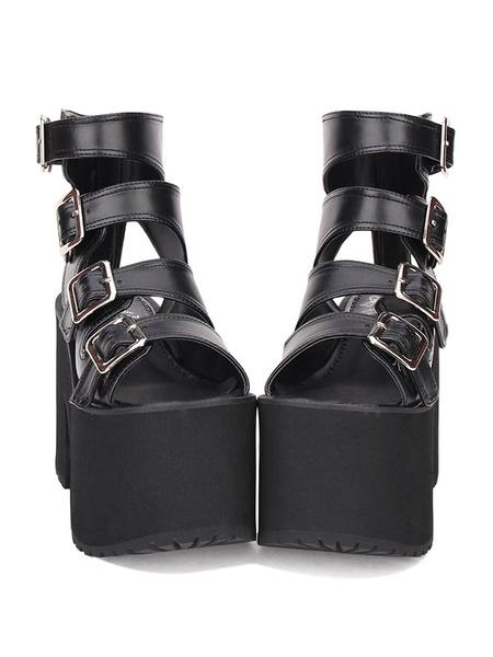 Milanoo Gothic Lolita Sandals Buckle Platform Chunky Heel Black Lolita High Heels