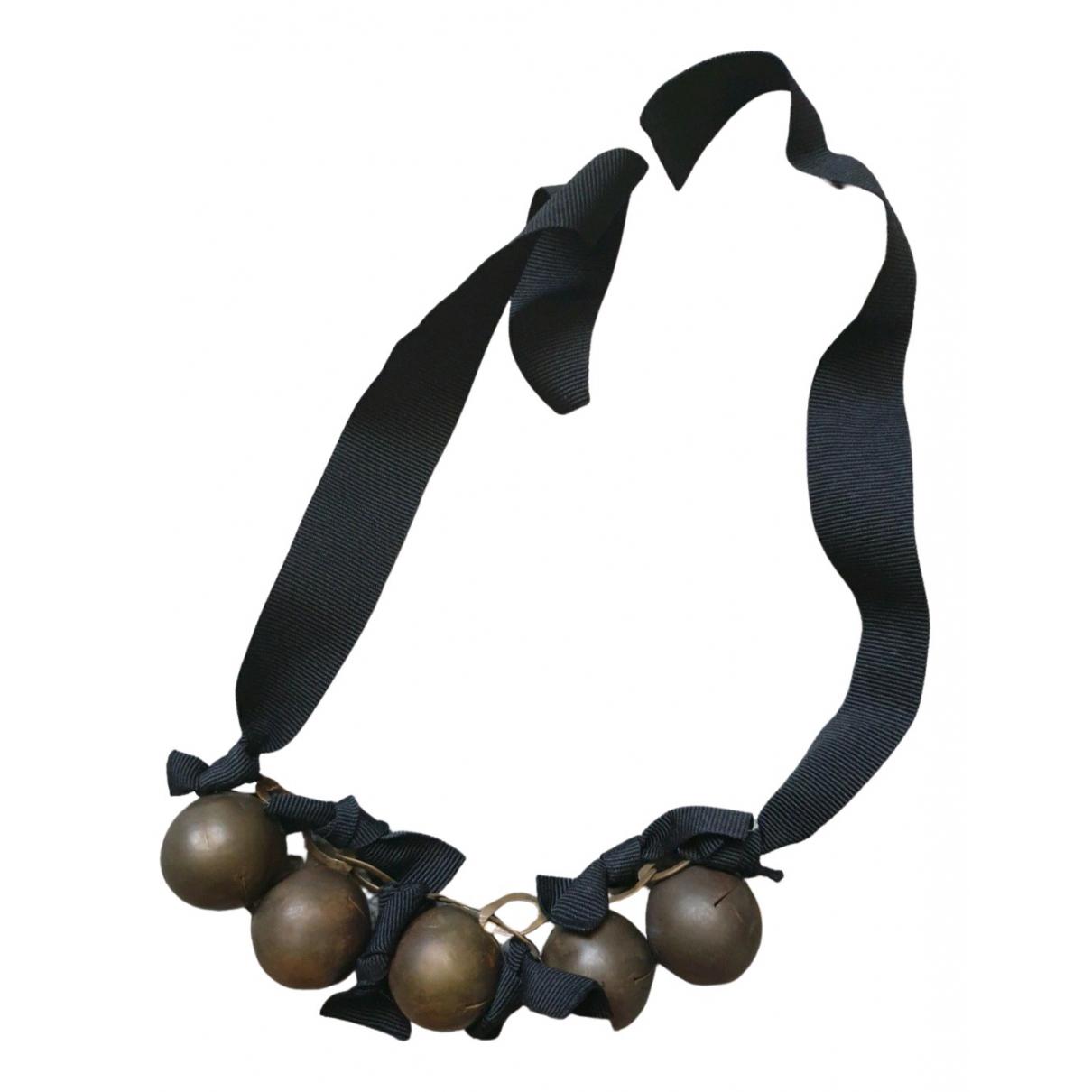 Massimo Dutti - Sautoir   pour femme en plaque or - noir