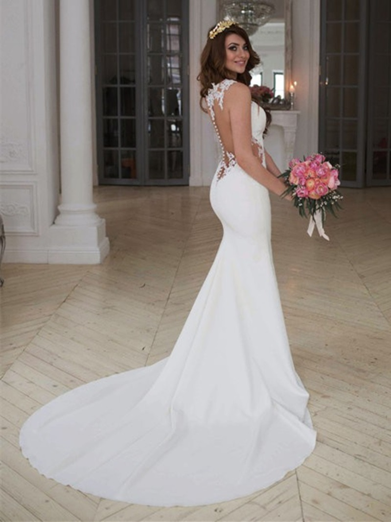 Ericdress Sheer Back Appliques Mermaid Wedding Dress