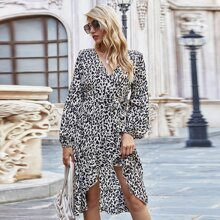Ruffle Trim Wrap Belted Leopard Dress