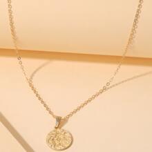 Halskette mit Metall rundem Anhaenger