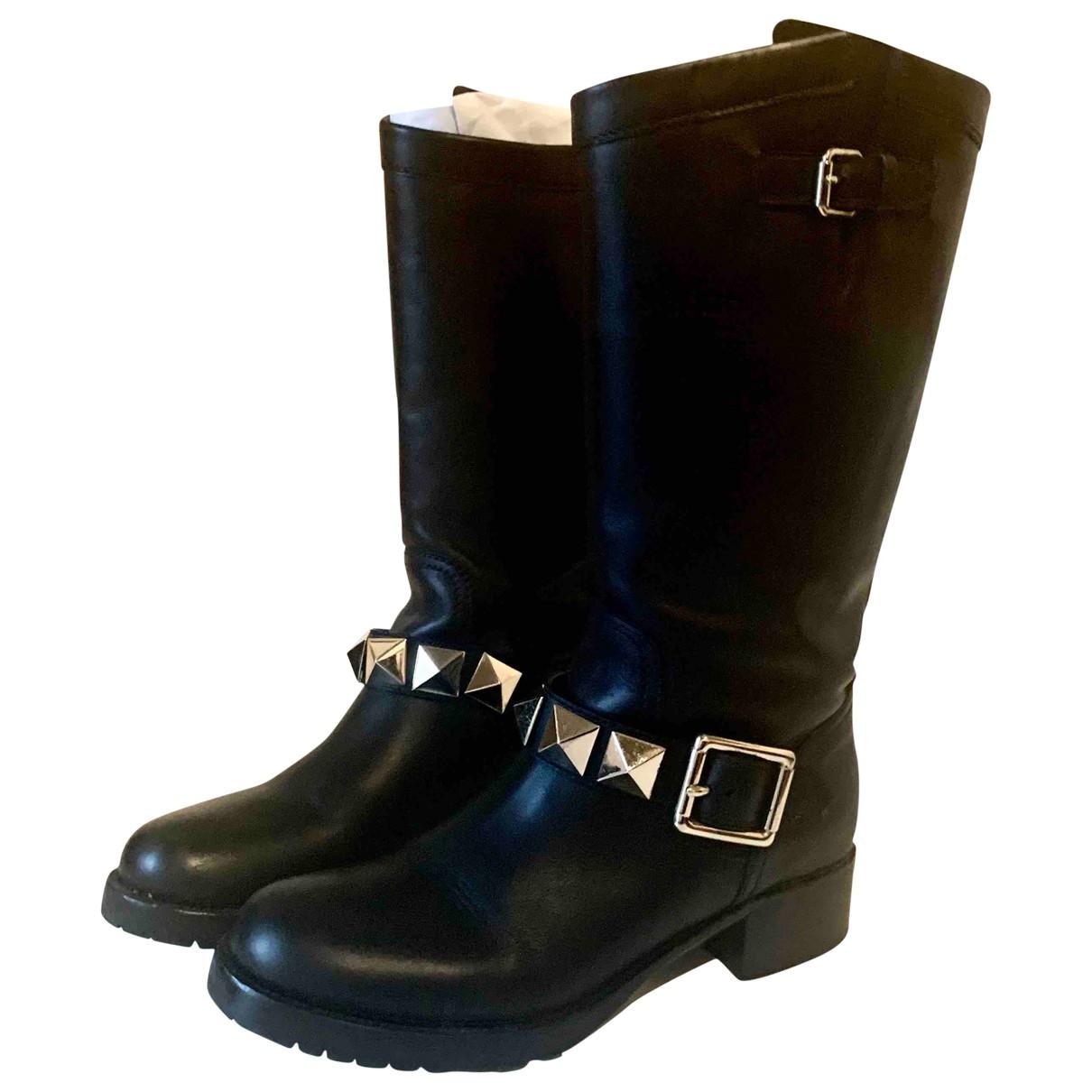Valentino Garavani Rockstud Black Leather Boots for Women 38 EU