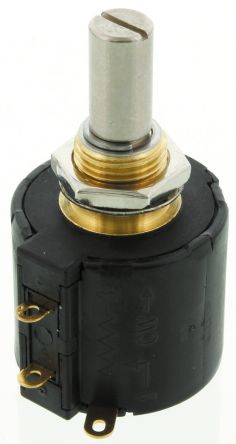 Bourns 1 Gang 10 Turn Rotary Wirewound Potentiometer with an 6.35 mm Dia. Shaft - 10kΩ, ±10%, 2W Power Rating, Linear,