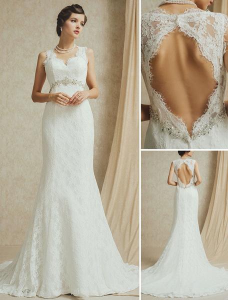 Milanoo Vestido de novia de encaje con pedreria de cola larga