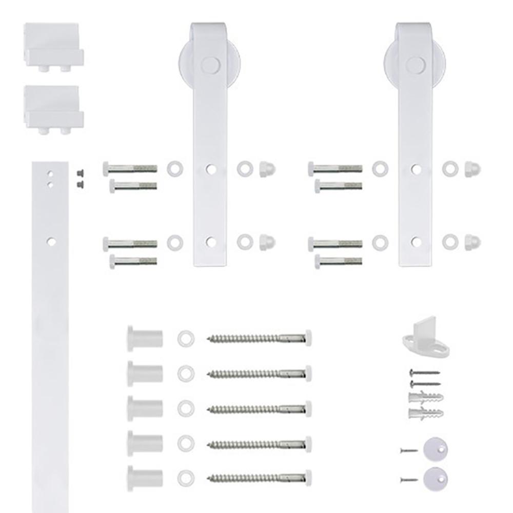 6.6 Ft. White Hook Strap Rolling Door Hardware Kit for Wood Door