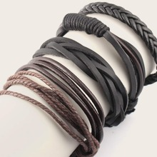 4pcs Men Braided Layered Bracelet