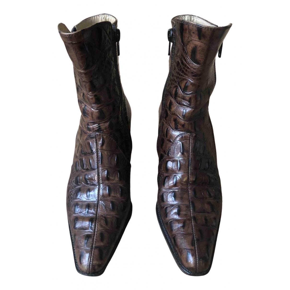 Charles Jourdan - Boots   pour femme en crocodile - marron