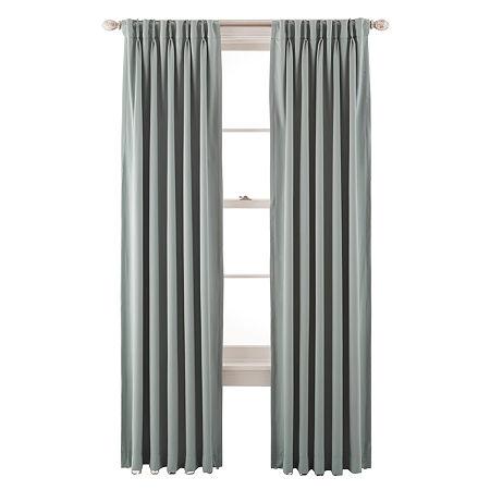 Liz Claiborne Kathryn Room-Darkening Pinch-Pleat/Back-Tab Curtain Panel, One Size , Green