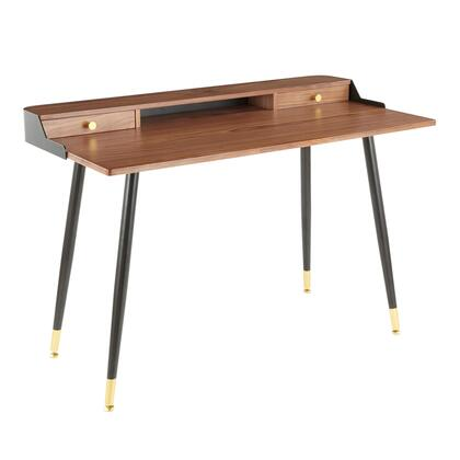 Harvey Collection OFD-HRVYBK+WL Desk with Gold Knobs  Tapered Legs  Mid-Century Modern Style  Black Metal Frame  Walnut Wood Top and Two Drawers in