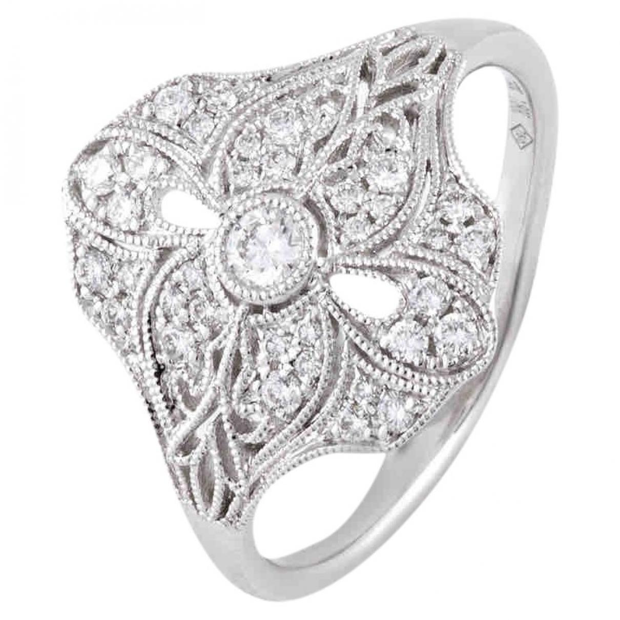 - Boucles doreilles Art Deco pour femme en or blanc - blanc