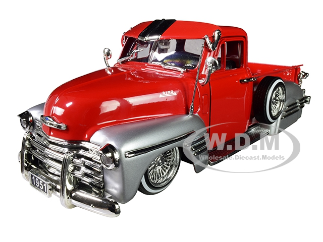 1951 Chevrolet Lowrider Pickup Truck Red and Silver
