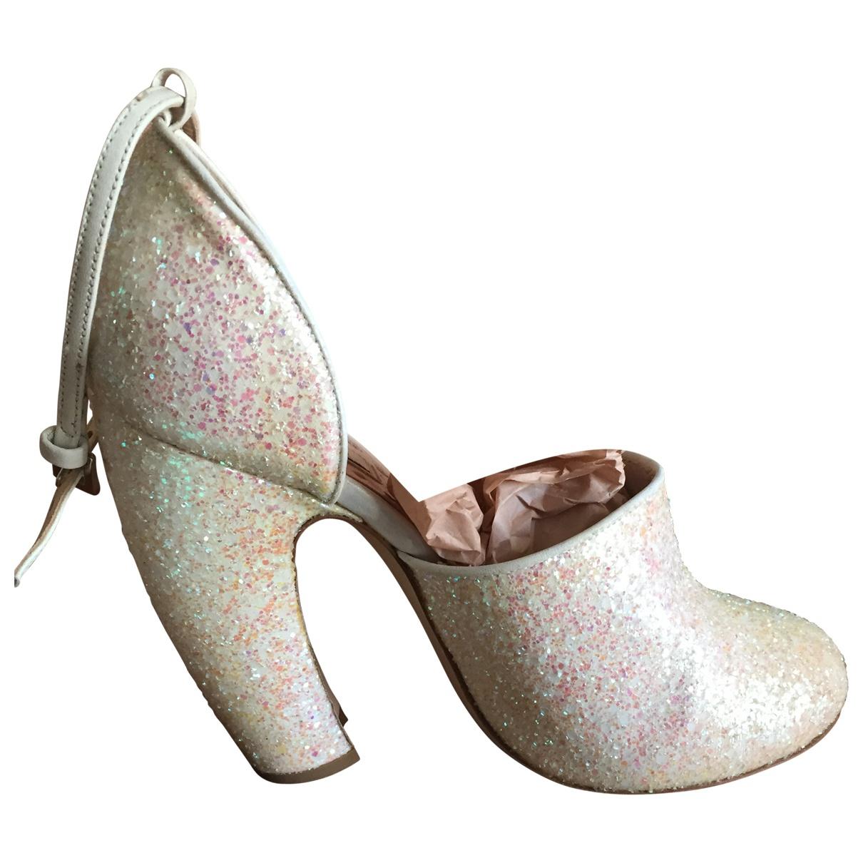 Miu Miu \N White Glitter Heels for Women 39 EU