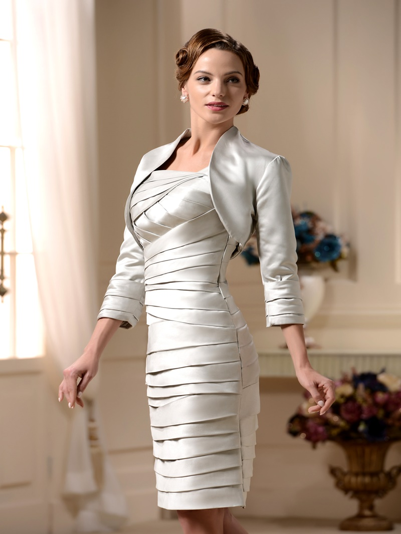 Ericdress Column Pleats Mother of the Bride Dress with Jacket