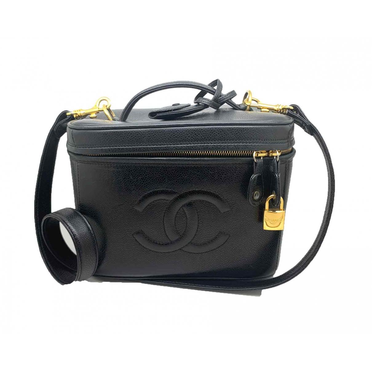 Chanel Vanity Handtasche in  Schwarz Leder