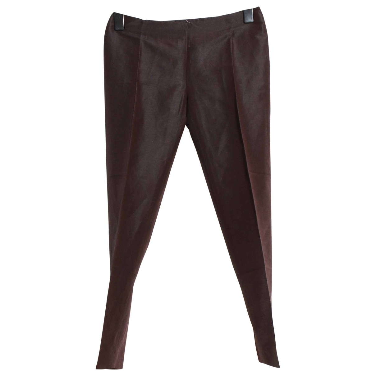 Max Mara \N Brown Linen Trousers for Women 38 FR