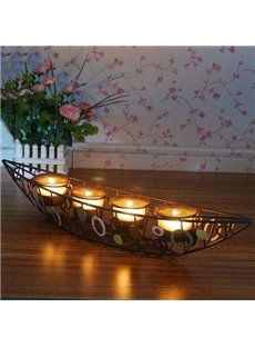 New Arrival Beautiful Ship Design Iron-made Candle Holder with 4 Heads
