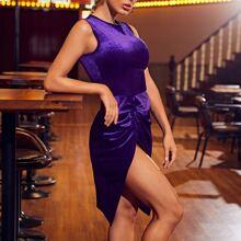 Twist Detail High Split Velvet Dress