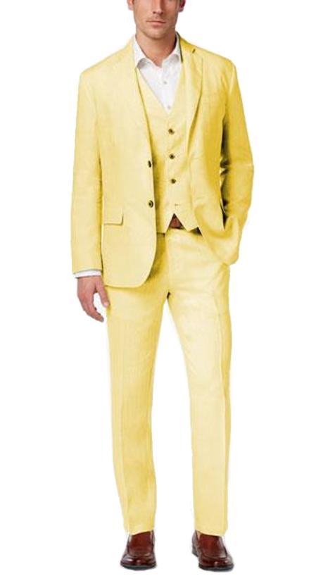 Alberto Nardoni Mens Summer Linen Three 3 Piece Suit Yellow Color