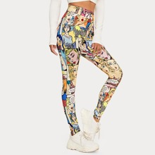 Leggings mit elastischer Taille und Komik Muster