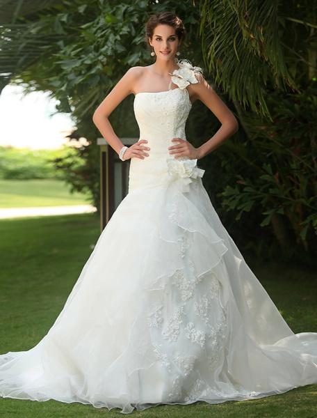Milanoo Vestidos de novia un vestido de novia de hombro plisado lado del cordon drapeado lentejuelas de organza del cordon tren vestido de novia