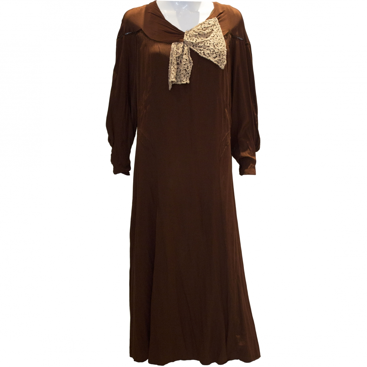 Non Signé / Unsigned \N Brown Silk dress for Women M International