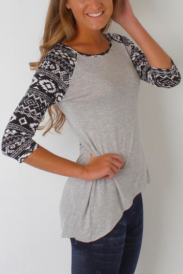 Yoins Light Grey Fashion Round Neck T-shirt In Digital Pattern