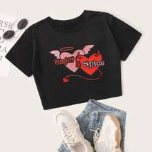Heart & Letter Graphic Crop Tee