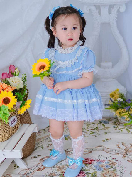 Milanoo Vestido de Lolita para niños Vestido de tutu de manga corta de encaje